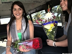 Sexy flower mamas bare their Latina buds for cash more than the Bang Bus