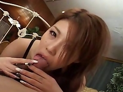 Super Japanese give a perfect handjob and blowjob