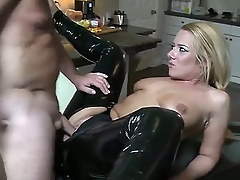Wonderful blonde babe to morose black latex pants is having an awesome cock shoved inside of her pithy mouth with the addition of then is fucking her right to her asshole.