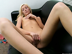 Emily Kae with small breasts and smooth cunt is extremely horny in this cum flying action
