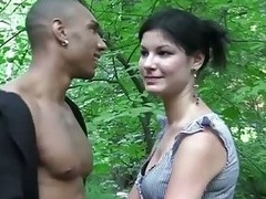 Girl fucked in a forest