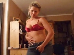 Chick in red-hot satin bra gives a great HJ