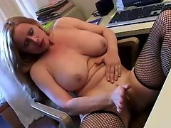 Nasty milf masturbates her muddy warm pussy on office desk