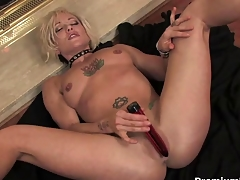 Blonde old lady teasing and striping