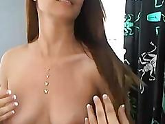 Cute Brunette Hair Fingering her Taut Fur Pie