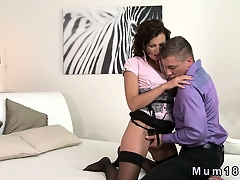 Sexy brunette MILF in underclothes fucking
