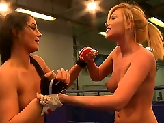 Sexy grouchy boxing babes have a willing time as they dissemble with body plus touch cunts