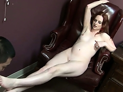Audrey Lords gets undressed and teases Eric Jover before getting a nice toe licking from him