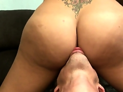 Big-tittied tranny gets her fantastic ass subdued and lubricated