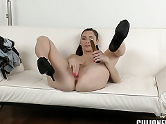 Kattie Gold with bubbly booty is curious about giving tugjob to horny guy