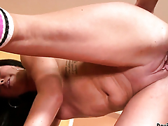 Becky Brielle polishes Banneret Lawrences sturdy fuck stick with her lips