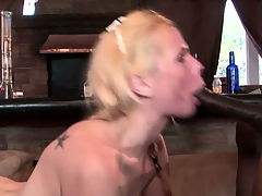 Gangbang bitch gets drilled by black cock together with gets a tasty load