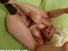 Jada stretching both their way holes with monster dildos