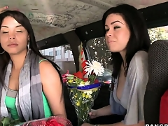 Sexy Latina babes carrying flowers take a ride on be transferred to Bang Bus