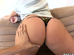 Big tit brunette Sophie Dee getting undressed and showing pussy