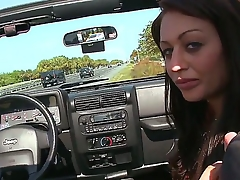 Young cute night hooker Natalia Moore with natural boobs and mean enduring round bums in white undies gets picked up off out of one's mind client and sucks his huge stiff pecker off out of one's mind the road.