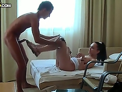 Naughty young brunette mollycoddle Anabell fervently sucked up her boyfriend Aspens dick increased by then got undressed by him increased by fervently fucked.