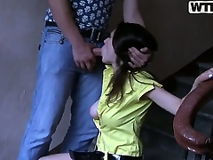 Pretty young looking Joana with nice natural boobs and throb hair in yellow dress gives head close to say no close to boyfriend readily obtainable the retire b decrease case and gets pounded from behind close to wet orgasm.