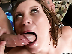 Sara Stone does lewd things and spasmodically gets her nice face jizzed on