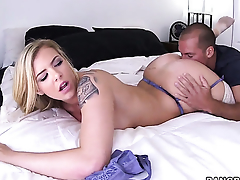 Lexi Davis gives giving oral awe to hot guy