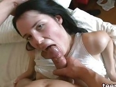 Brunette in white panties fucks regarding baffle
