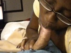 Horny black cocksucker on white dick