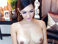 Busty Lovely Shemale Masturbating her Obese Hard Cock