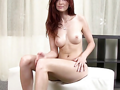 Stunning redhead sucking dick to climax