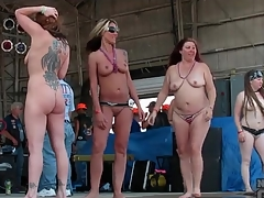 Imported girls get messy within reach a biker show