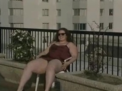 Fat chick upskirt tease outdoors