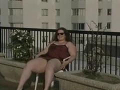 Fat chick upskirt tease outdoors