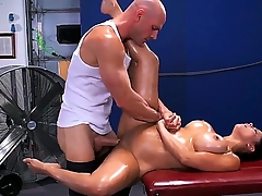 Pretty young brunette chick Diamond Kitty is lying on massage phrase and getting say no to pair oiled back and asshole cussed out by Johnny Sins.
