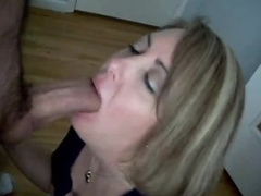 Wife gives blowjob until chunky cock cums